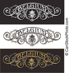 Vintage Belgium Label Banner, Withe, Black and Gold -...