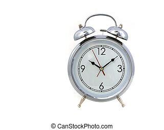 Vintage Replica Alarm Clock on White Background