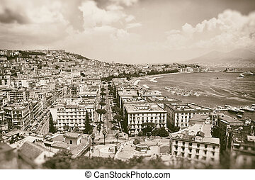 Vintage best view of the gulf of Naples