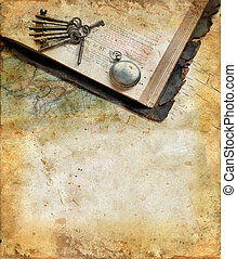 Vintage bible, keys, watch and map on a grunge background with copy-space for your text.