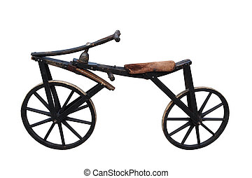 Vintage bicycle against white background