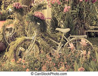 Vintage bicycle garden decoration