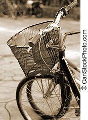 vintage bicycle parking on street