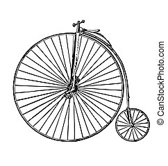 vintage retro bike bicycle penny farthing black ink etching side view isolated on white background