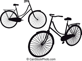 vintage bicycle, vector - vintage bicycle silhouettes,...