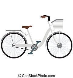 Vintage bicycle with basket vector isolated on white
