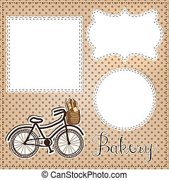 Vintage bicycle with bread for bakery layout, with vintage lace