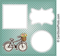 Vintage bicycle with flowers in basket layout, with vintage lace