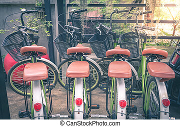 Vintage bicycles parked in a row