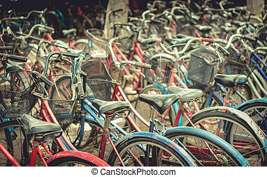 Vintage bicycles picture style. Urban old bicycle, Service and Bicycle rental.