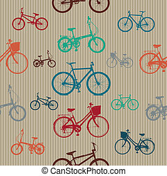 Vintage Bicycles Seamless Pattern Vector for Use