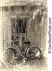 Vintage Bike Against Abandoned Building - Old, antique...