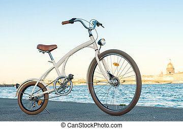 Vintage bike against Neva river - Vintage bike against ...