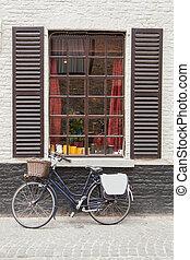 Vintage bike Brick wall window