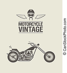 Vector illustration of a stylised vintage motorcycle