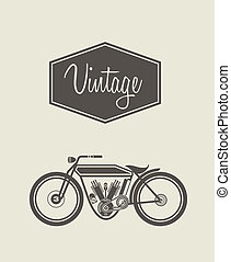 Vector illustration of a stylized vintage motorcycle