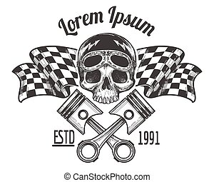 Vintage biker rider skull tattoo banner with racing...
