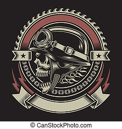 fully editable vector illustration of biker skull emblem isolated on black background, image suitable for emblem, crest, insignia, badge, patch or t-shirt design