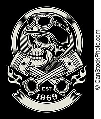 fully editable vector illustration of biker skull with crossed piston emblem isolated on black background, image suitable for emblem, crest, insignia, badge, patch or t-shirt design