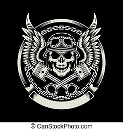 fully editable vector illustration of vintage biker skull with wings and pistons emblem on black background, image suitable for emblem, insignia, crest, graphic t-shirt, or tattoo