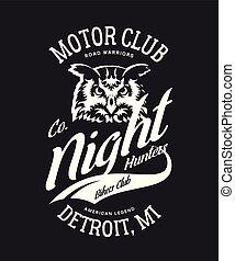 Vintage bikers club t-shirt vector logo on dark background.