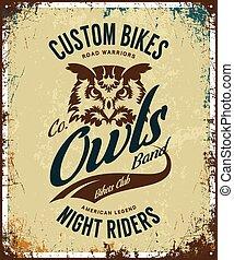 Vintage bikers club t-shirt vector logo on light background.
