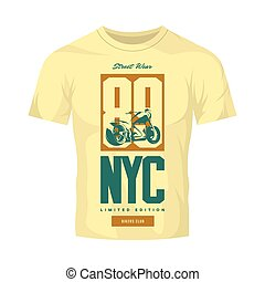 Vintage bikers club vector t-shirt logo isolated on light...