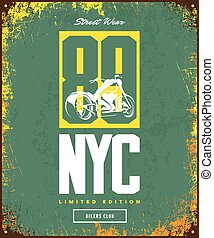 Vintage bikers club vector t-shirt logo isolated on green...