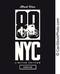 Vintage bikers club vector t-shirt logo isolated on dark background.