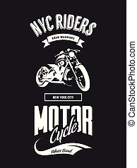 Vintage bikers club vector t-shirt logo isolated on dark...