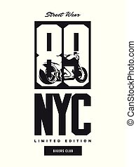 Vintage bikers club vector t-shirt logo isolated on white...