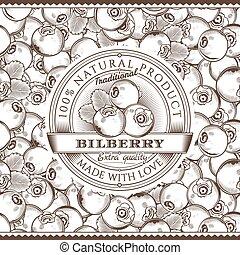 Vintage Bilberry Label On Seamless Pattern