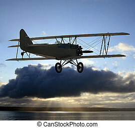 Very early vintage biplane flying above the clouds. Background of blue sky above with clouds in center photo frame covering up the sun and causing light rays to eminate from below onto a large body of water.