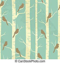 Vintage Birch Pattern - Seamless pattern with birches and...