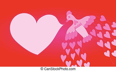 Vintage bird and heart