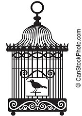 Silhouette of lonely bird in a cage, isolated on white background, full scalable vector graphic included Eps v8 and 300 dpi JPG.