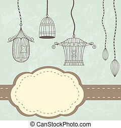 Vintage birdcages card
