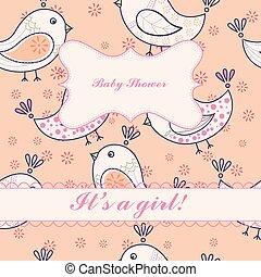 Vintage birds baby shower girl