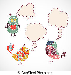 Vintage birds set with speech bubbles on white background