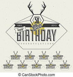 Vintage Birthday card collection - Retro Vintage style...