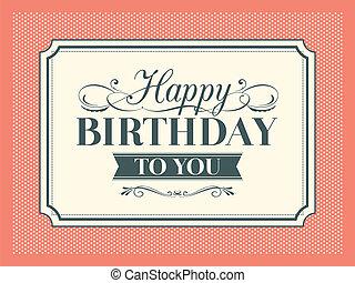 Vintage Birthday card frame design template