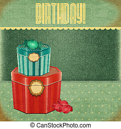 Vintage Birthday Card - Two gift box on Retro Jeans...