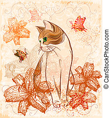 Vintage birthday card with cat and lilies.