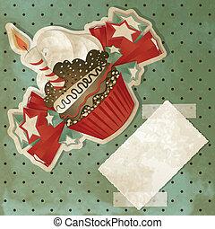 Vintage Birthday Cupcake
