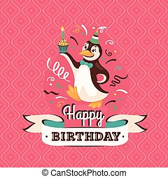 Vintage birthday greeting card with a penguin vector illustratio