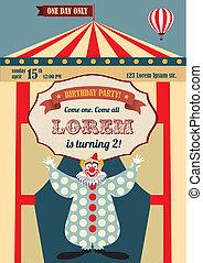 Vintage Birthday invitation - Vintage carnival or circus...