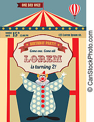 Vintage Birthday invitation - Vintage carnival or circus...