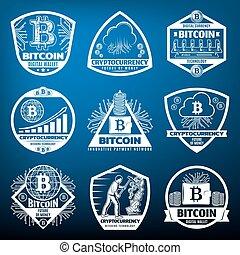 Vintage Bitcoin Labels Set