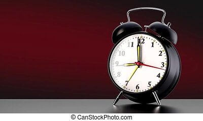vintage black alarm clock on red background. Time concept....