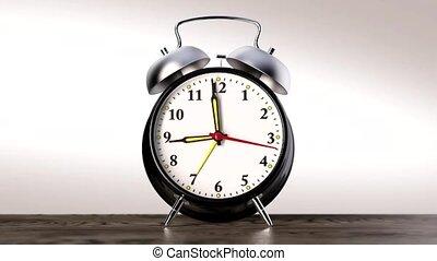 vintage black alarm clock on white background. Time concept....